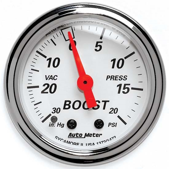 Auto Meter 1372 Arctic White Mechanical Boost/Vacuum Gauge