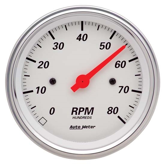 Auto Meter 1390 Arctic White Air-Core In-Dash Tachometer Gauge