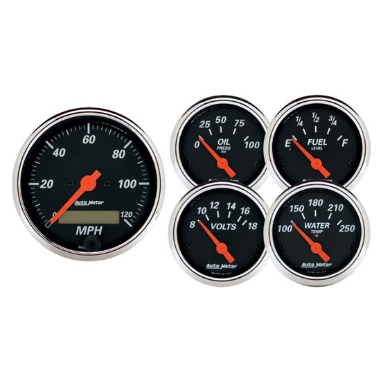 Auto Meter 1421 Designer Black 5 Piece Electric Gauge Kit