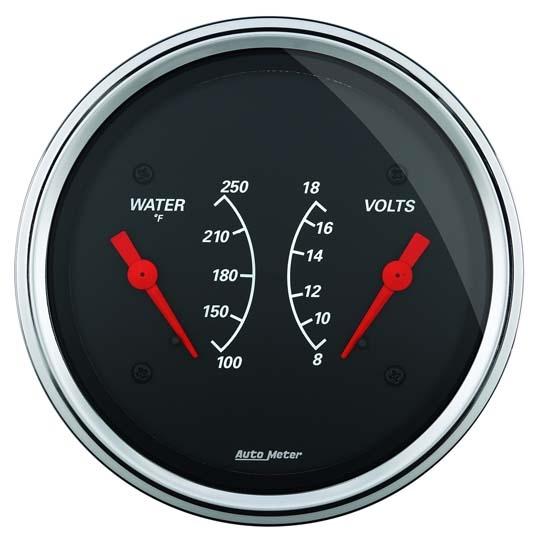 3 8 3 8 Indicator : Auto meter designer black air core dual gauge inch