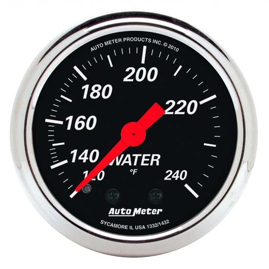 Auto Meter 1432 Designer Black Mechanical Water Temperature Gauge