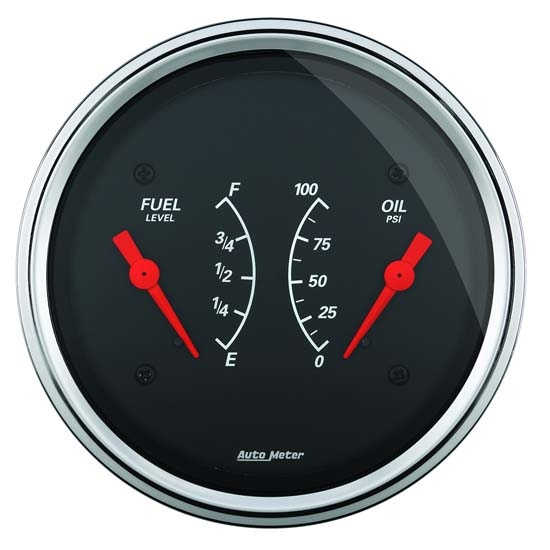 Auto Meter 1434 Designer Black Air-Core Dual Gauge, 3-3/8 Inch