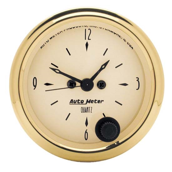 Auto Meter 1586 Golden Oldies Quartz Clock Gauge, 2-1/16 Inch, Analog