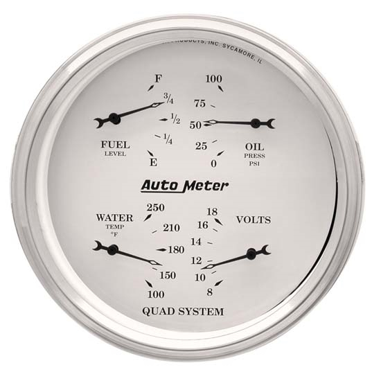 Auto Meter 1610 Old-Tyme White Air-Core Electric Quad Gauge, 5 Inch
