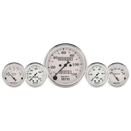 Auto Meter 1611 Old-Tyme White 5 Piece Gauge Set, Mechanical