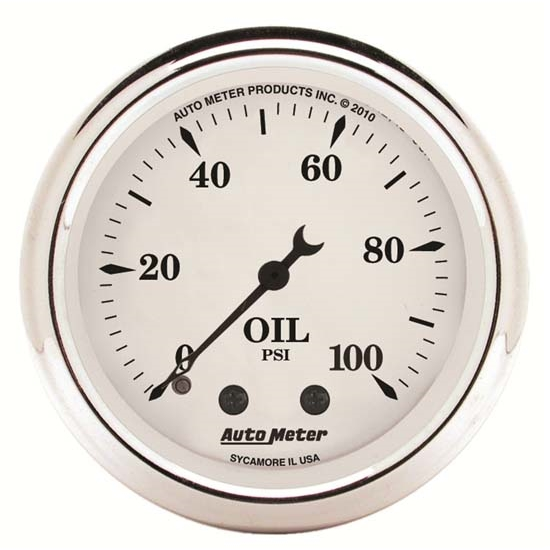 Auto Meter 1621 Old-Tyme White Mechanical Oil Pressure Gauge