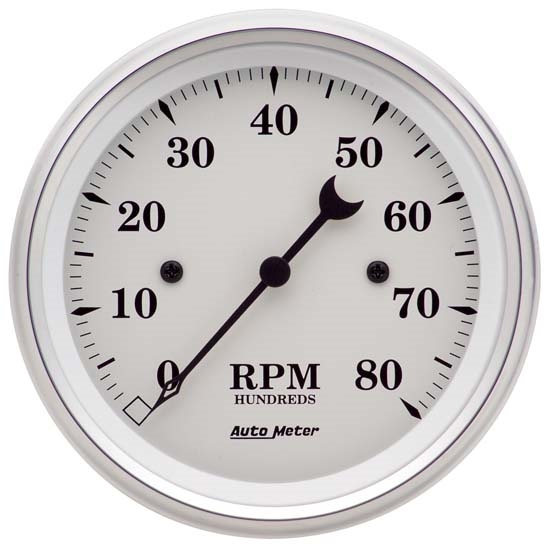 Auto Meter 1690 Old-Tyme White Air-Core In-Dash Tachometer, 3-3/8 Inch