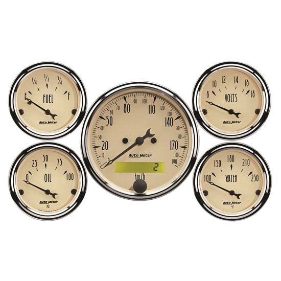 Auto Meter 1809-M Antique Beige 5 Piece Gauge Kit