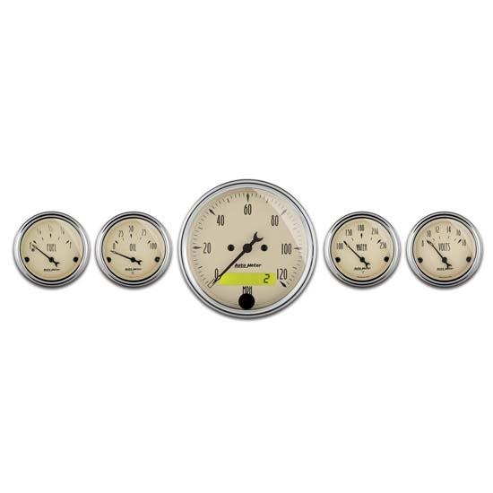 Antique Meter And Gauges : Auto meter antique beige piece gauge kit