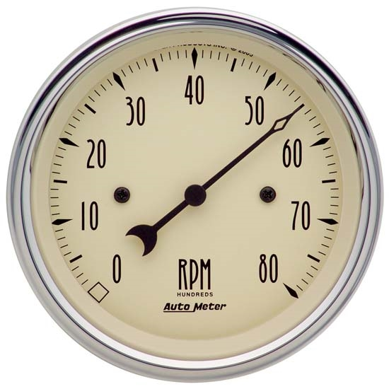 Auto Meter 1890 Antique Beige Air-Core In-Dash Tachometer Gauge