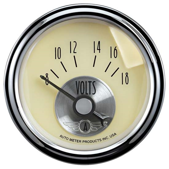 Auto Meter 2092 Prestige Antique Ivory Air-Core Voltmeter Gauge