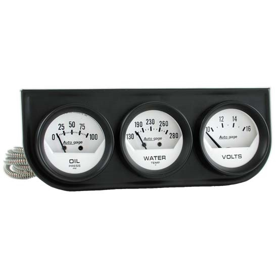 Auto Meter 2324 Auto Gage Mechanical 3 Gauge Console, Oil/Water/Volt