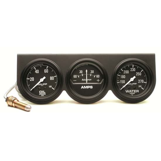 Auto Meter 2394 Auto Gage 3 Gauge Console, Oil/Amp/Water