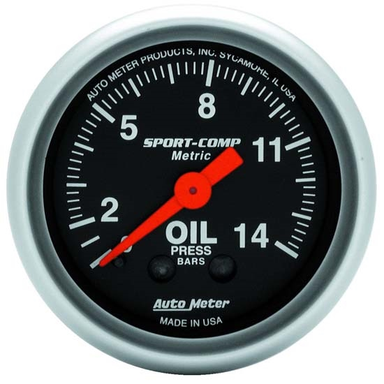 Auto Meter 3322-J Sport-Comp Mechanical Oil Pressure Gauge