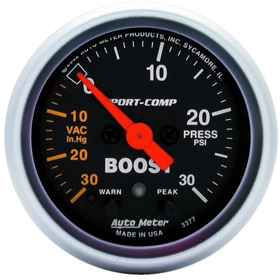 Auto Meter 3377 Sport-Comp Digital Stepper Motor Boost/Vacuum Gauge