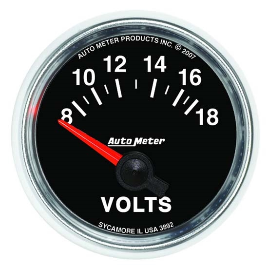 Auto Meter 3892 GS Air-Core Voltmeter Gauge, 2-1/16 Inch, 18V
