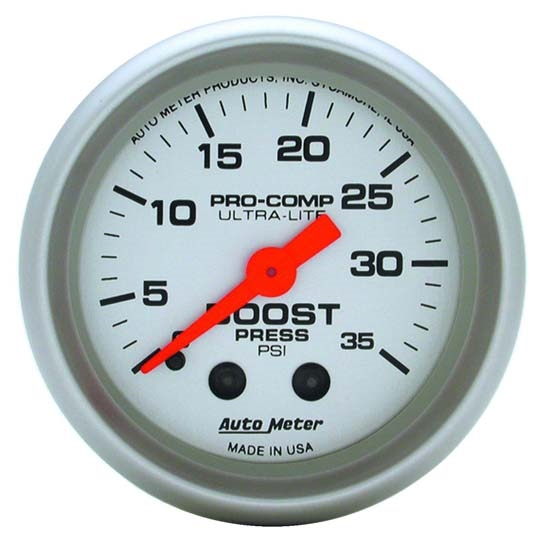 Auto Meter 4304 Ultra-Lite Mechanical Boost Gauge, 35 PSI, 2-1/16 Inch