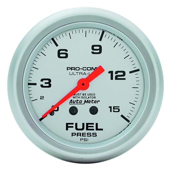 Auto Meter 4413 Ultra-Lite Mechanical Fuel Pressure w/ Isolator Gauge
