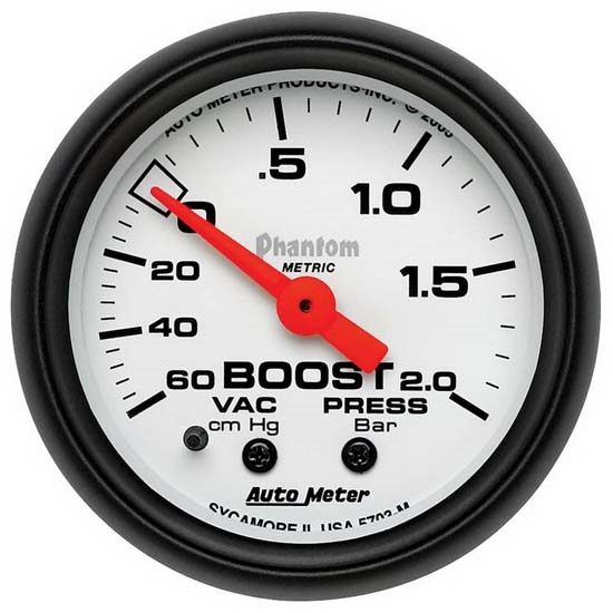 Auto Meter 5703-M Phantom Mechanical Boost/Vacuum Gauge, 2-1/16 Inch