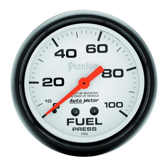 Auto Meter 5812 Phantom Mechanical Fuel Pressure Gauge, 100 PSI, 2-5/8