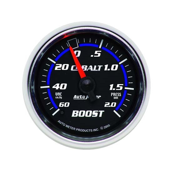 Auto Meter 6103-M Cobalt Mechanical Boost/Vacuum Gauge, 2-1/16 Inch