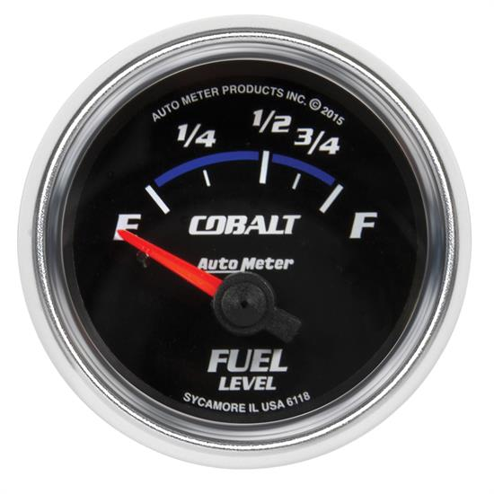 Auto Meter 6118 Cobalt Fuel Level Gauge, 2-1/16, 16/158 Ohm, Flat Lens