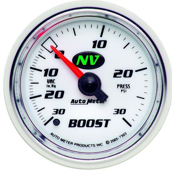 Auto Meter 7303 NV Mechanical Boost/Vacuum Gauge, 2-1/16 Inch