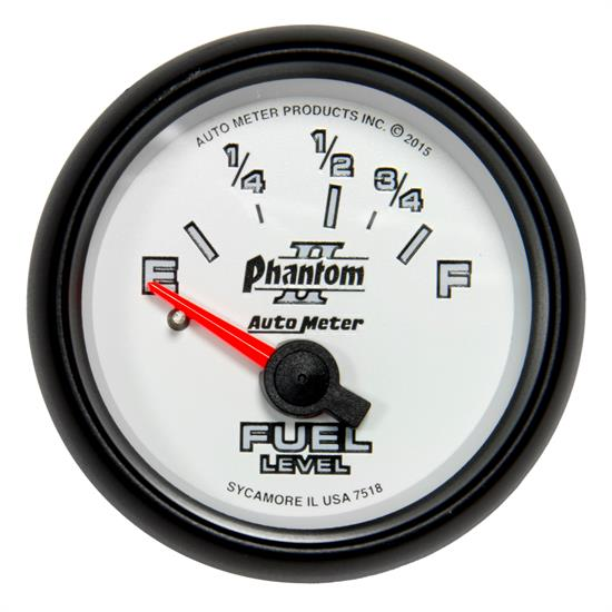 Auto Meter 7518 Phantom II Fuel Level Gauge, 2-1/16, 16/158 Ohm, Flat