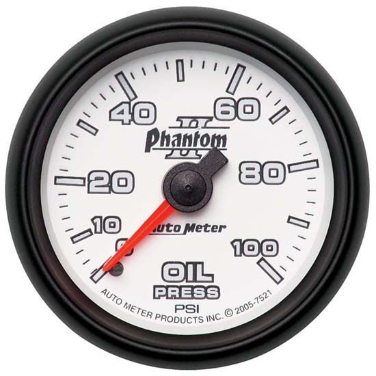 Auto Meter 7521 Phantom II Mechanical Oil Pressure Gauge, 2-1/16 Inch