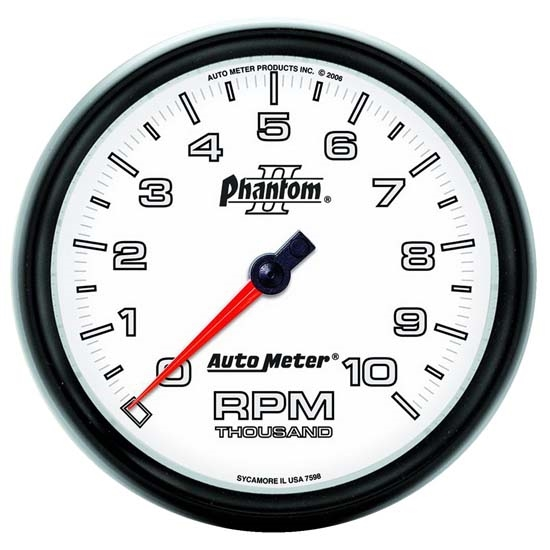 Auto Meter 7598 Phantom II Air-Core In-Dash Tachometer, 10k RPM, 5 In.