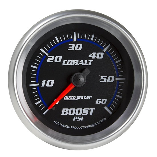 Auto Meter 7905 Cobalt Mechanical Boost Gauge, 2-5/8 Inch, 60 PSI