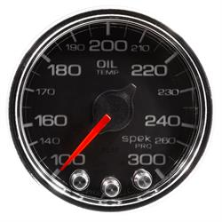Auto Meter P32231 Spek-Pro Oil Temp Gauge, 2-1/16, 100-300 Deg., Domed