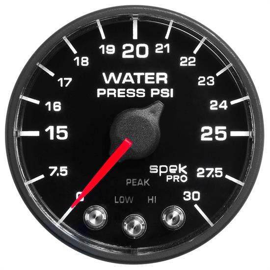 Auto Meter P550328-N1 Spek-Pro Water Press. Gauge, 2-1/16, 0-30 PSI,