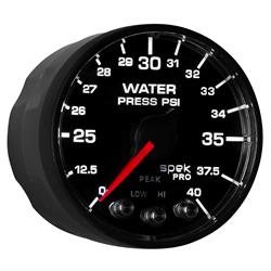 Auto Meter P551328-N1 Spek-Pro Water Press. Gauge, 2-1/16, 0-40 PSI,