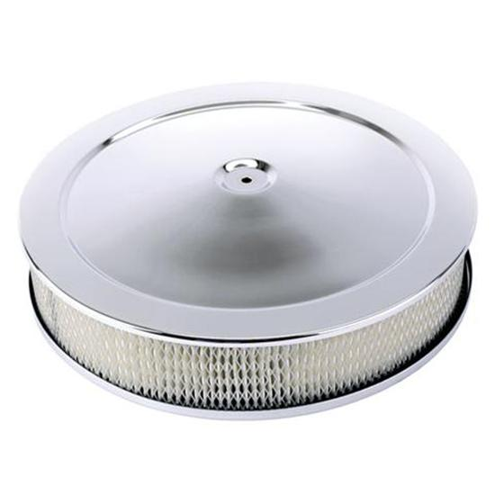 Chrome Deep Dish Performance Air Cleaner, 14 x 3 Inch, 4 Barrel Carb.