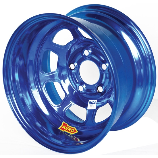 Aero 52-984540BLU 52 Series 15x8 Wheel, 5 on 4-1/2 BP, 4 Inch BS IMCA