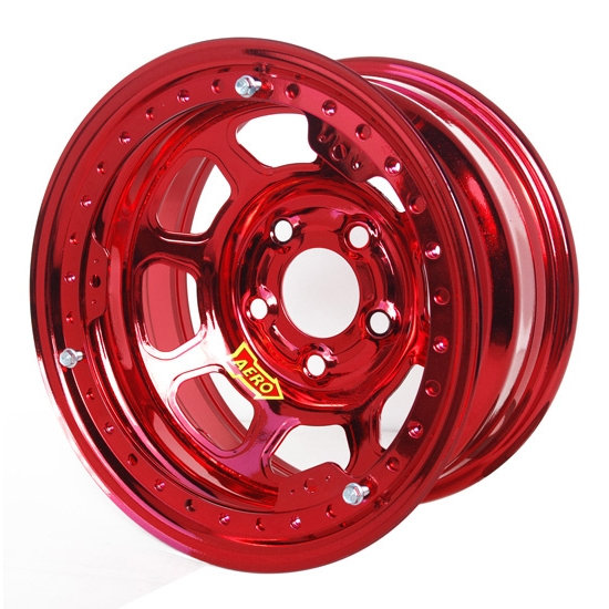 Aero 53-924550RED 53 Series 15x12 Wheel, BL, 5 on 4-1/2 BP, 5 Inch BS