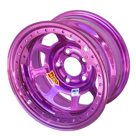 Aero 53-984530PUR 53 Series 15x8 Wheel, BL, 5 on 4-1/2, 3 Inch BS IMCA