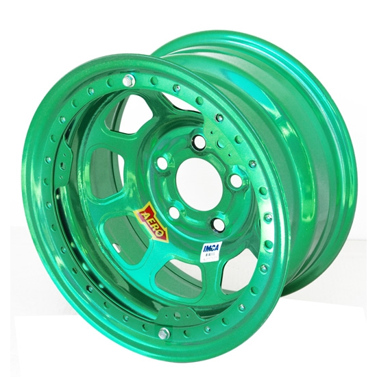 Aero 53-985010GRN 53 Series 15x8 Wheel, BL, 5 on 5 BP, 1 Inch BS IMCA