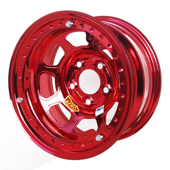 Aero 53-985040RED 53 Series 15x8 Wheel, BL, 5 on 5 BP, 4 Inch BS, IMCA