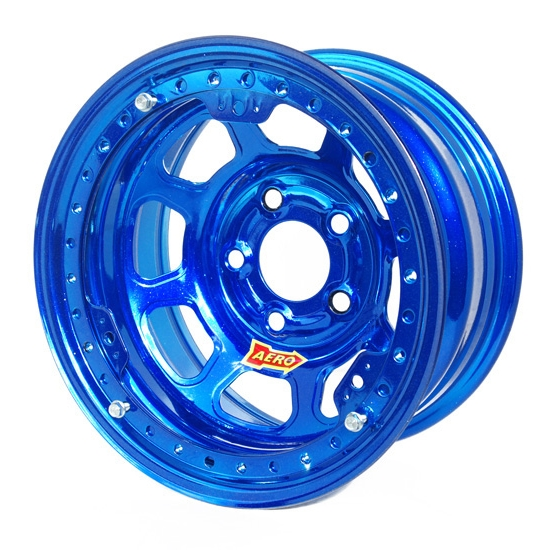 Aero 53985040WBLU 53 Series 15x8 Wheel, BL, 5 on 5, 4 Inch BS Wissota
