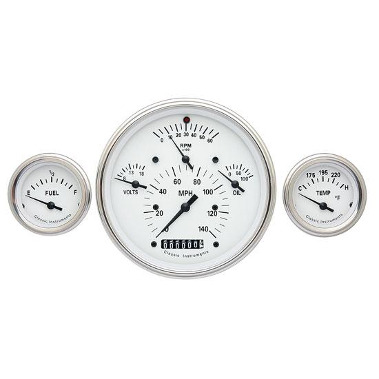 Classic Instruments CH01WSLF Tetra Series 1957 Chevy Gauge Set, White