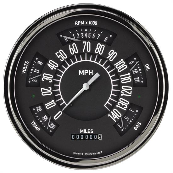 Classic Instruments Six Pack Gauge, 1949-50 Chevy