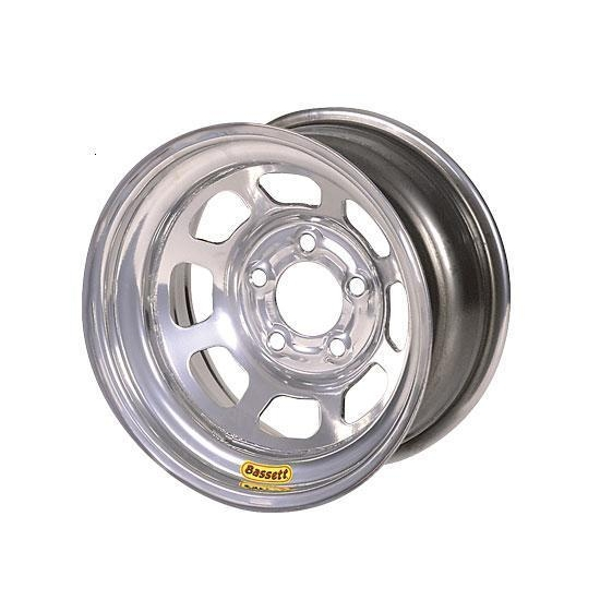 Bassett 47SN4S 14X7 D-Hole 5 on 100mm 4 Inch Backspace Silver Wheel