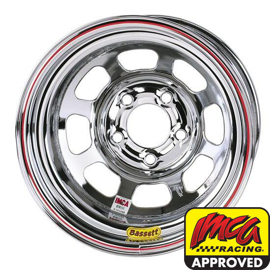 Bassett Chrome D-Hole 15 Inch Wheel 15x8, 5 on 4.75, Non Beadlock