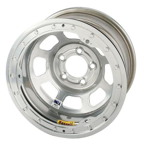 Bassett D-Hole IMCA 15 Inch Wheel, 15 x 8, 5 on 4-3/4, Beadlock, Silver