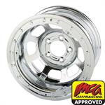 Bassett Chrome D-Hole 15 Inch Wheel, 15x8, 5 on 4-3/4, Beadlock