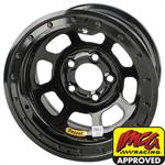 Bassett D-Hole IMCA 15 Inch Wheels, 15 x 8, 5 on 4-3/4, Beadlock, Black
