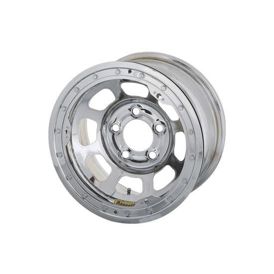 Bassett 57RN4CL 15X7 Dot D-Hole 5on100mm 4 In BS Chrome Beadlock Wheel