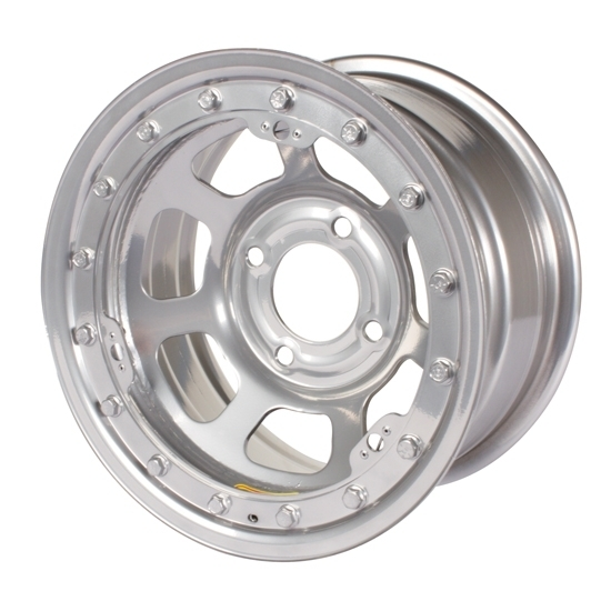 Bassett 57RP4SL 15X7 Dot D-Hole 4on4.25 4 In BS Silver Beadlock Wheel